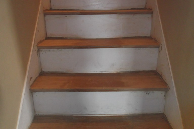These 100 Year Old Farmhouse Steps Had Gouges, Exposed Nail Heads, And  Layers Of Hideous, Brownish Orange Paint. I Started With A Sander And 60  Grit ...