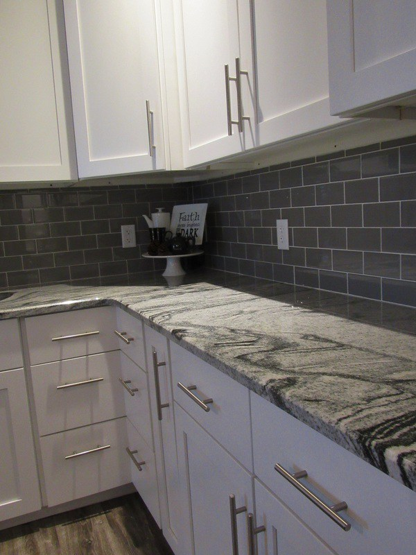 Modern Farmhouse Kitchen Remodel White Shaker Cabinets Gray Island - Granite for gray cabinets
