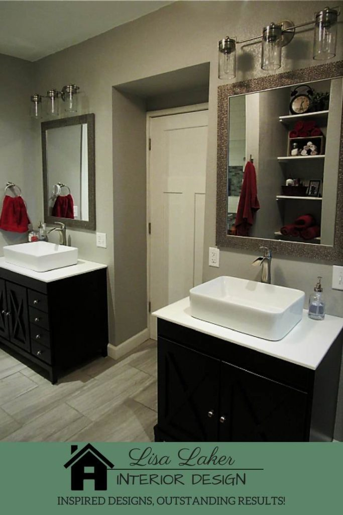 modern farmhouse master bathroom separate vanities