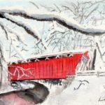 winter covered bridge watercolor art fixer upper style