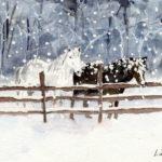 winter horses farmhouse style winter art