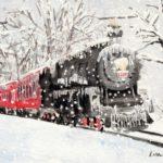 winter train watercolor tutorial