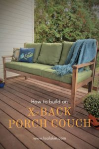 how to build an x back porch couch