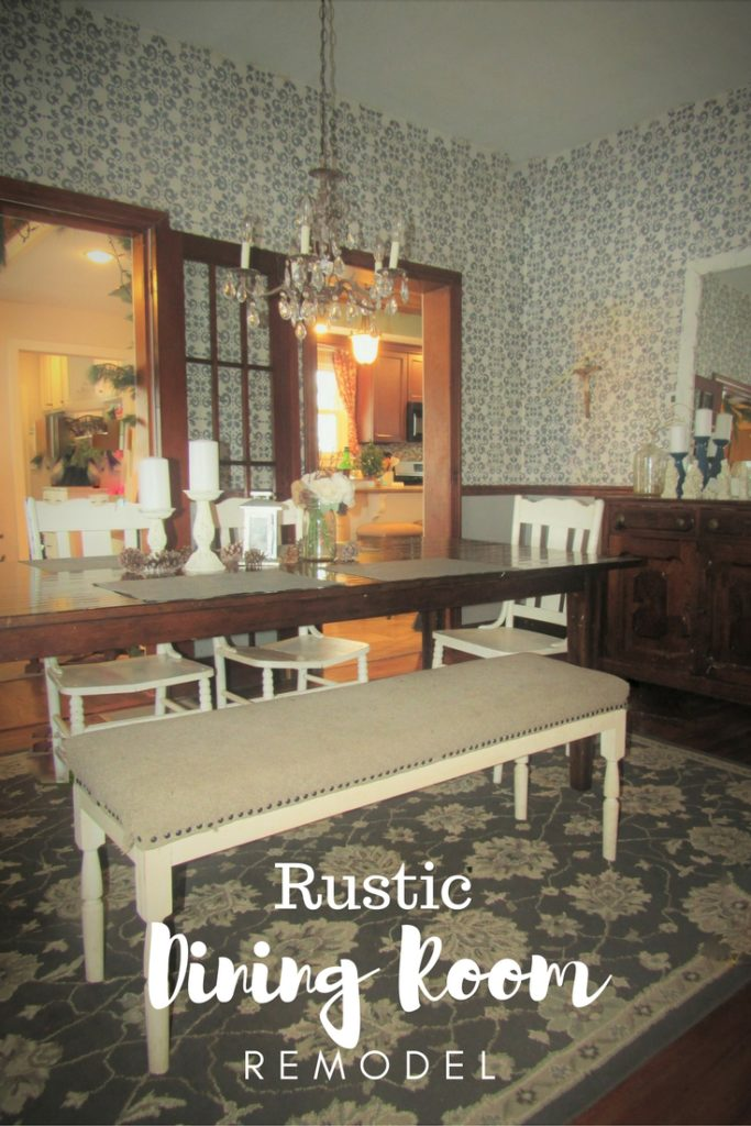 Rustic Dining Room Remodel - Damask Stenciled Walls