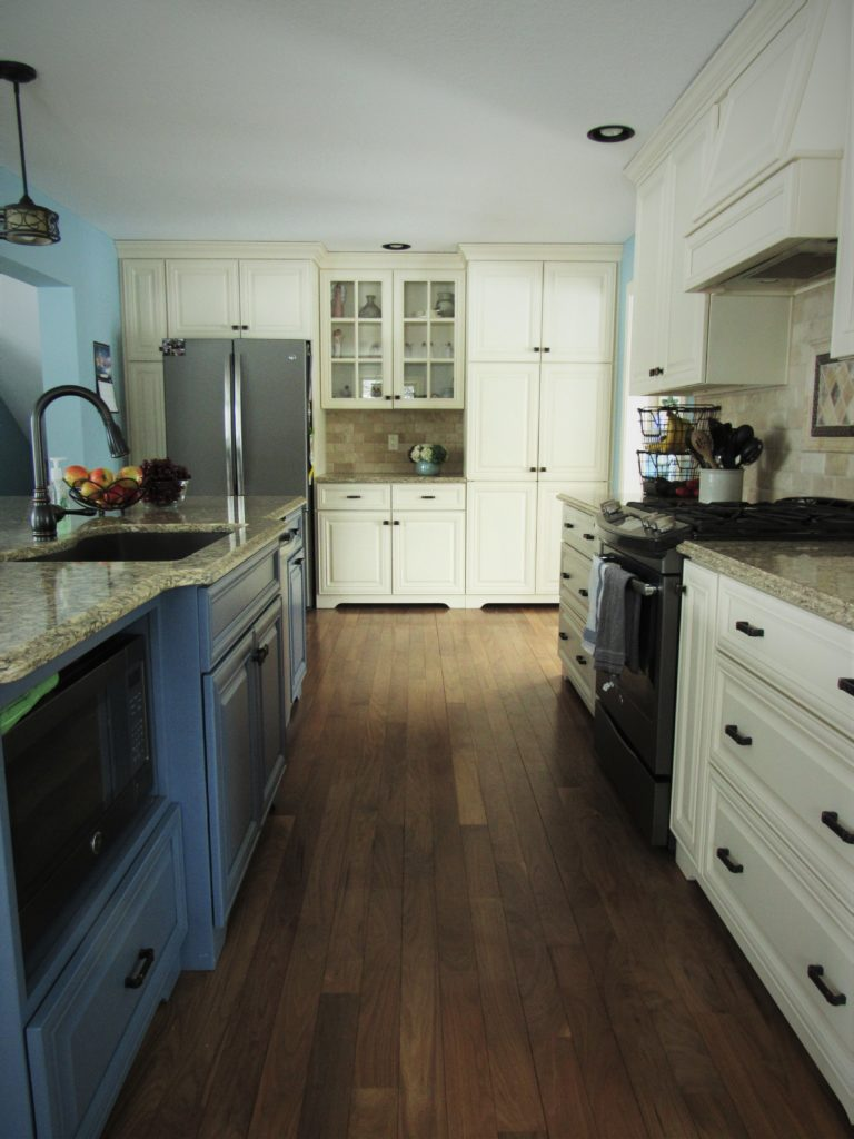 cream and blue cabinets