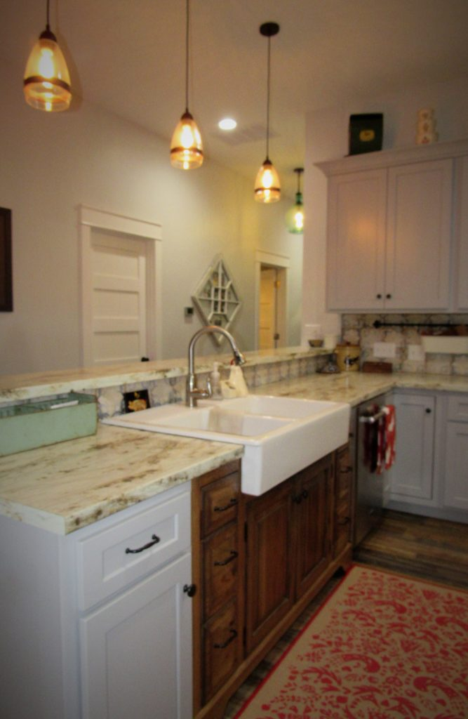 mixing staind and painted cabinetry